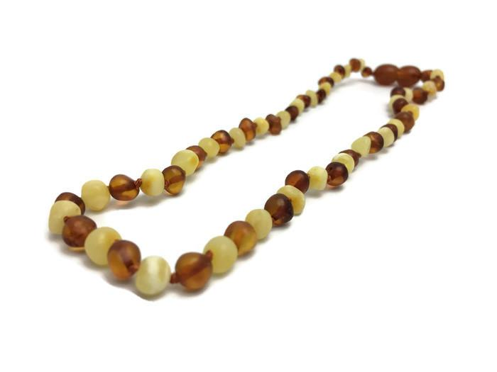 Baby Baltic Amber Necklace - 11 In Amber Teething Necklace Raw Polish Basic Infant Screw Pop Clasp