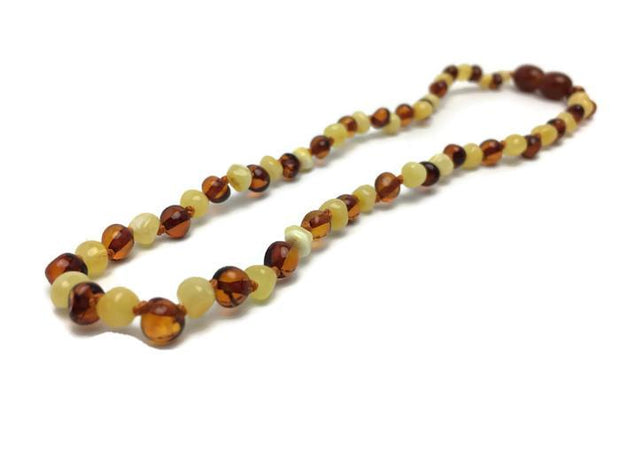 "11"" Authentic Baltic Amber Teething Necklace Raw Polish Infant Screw Pop Safety 1"