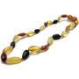 Baby Baltic Amber Necklace - 11 In Baltic Amber Teething Necklace Polished Bean Multi Newborn Baby Infant
