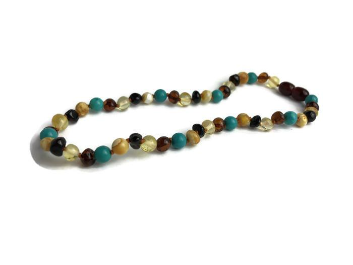 Baby Baltic Amber Necklace - 12.5 11 17 19 Amber Teething Polished Milk Cherry Turquoise