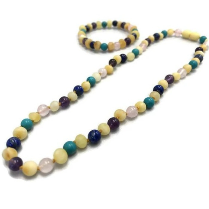 Baby Baltic Amber Necklace - 12.5 11 17 19 Amber Teething Raw Milk Turquoise Lapis Pink Amethyst
