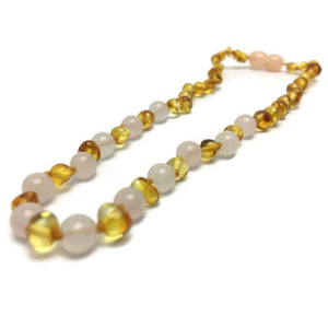 Baltic Amber Teething Necklace and Rose Gemstone