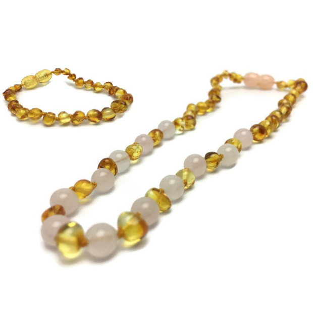 Baltic Amber Teething Necklace and Rose Gemstone 1