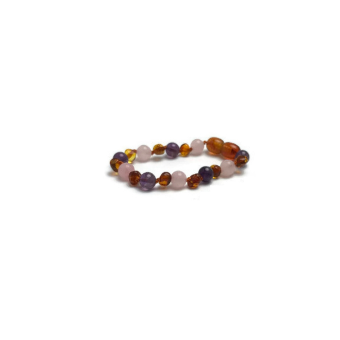 12.5 inches Size 32 cm - BoutiqueAmber 12.5 inches, Cherry//Amethyst//Quartz Baltic Amber Teething Necklace made with Amethyst and Rose Quartz Beads