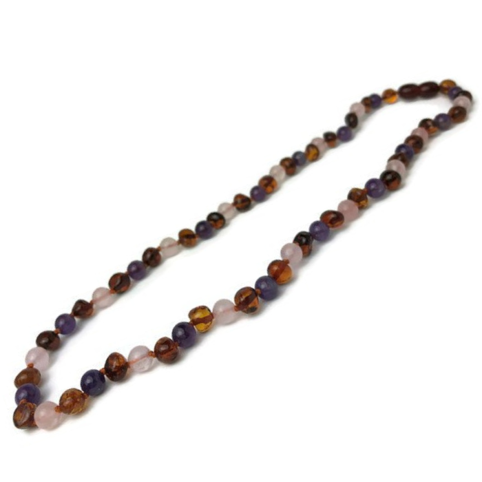 Baby Baltic Amber Necklace - Baltic Amber Teething Necklace Cognac Rainbow Gemstones
