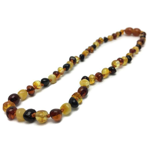 "Baltic Amber Teething Necklace for Baby,Toddler 12.5"" or 11 Polished Multi"