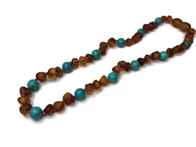 Baby Baltic Amber Necklace - Baltic Amber Teething Necklace Raw 12.5 In Cognac Turquoise