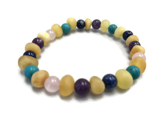 Baby Baltic Amber Necklace - Bracelet Baltic Amber Teething Raw Milk Turquoise Lapis Pink Amethyst