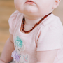 Baby Baltic Amber Necklace - Polished Cognac Baltic Amber Necklace For Baby, Infant.