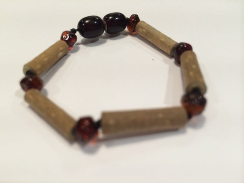 Baby Hazelwood Bracelet - Cherry 5.5 Inch Hazelwood Bracelet (For GERD, Colic, Eczema) Baby, Infant. Baltic Amber