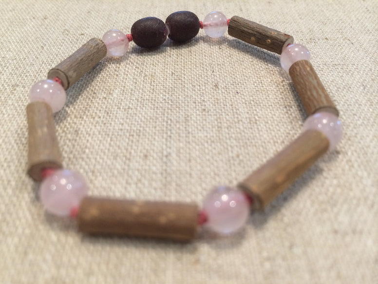 Baby Hazelwood Bracelet - Pink 5.5 Inch Hazelwood Rose Quartz Bracelet (For GERD, Colic, Eczema) Baby, Infant.