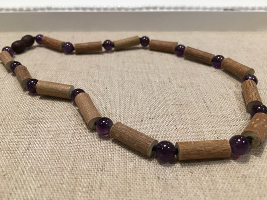 Baby Hazelwood Necklace - 11 Or 12.5 Inch Hazelwood Necklace Eczema Colic Reflux GERD Purple Amethyst For Newborn Infant, Baby, Toddler