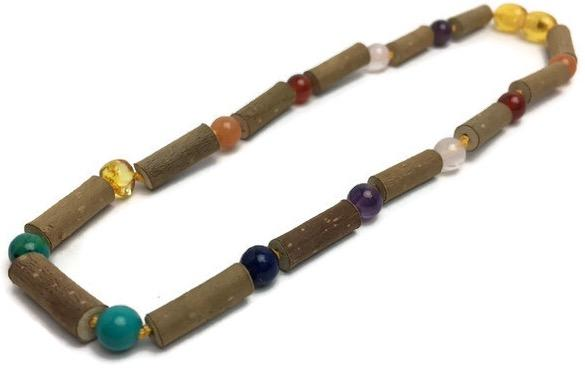 Baby Hazelwood Necklace - 14 Inch Hazelwood Necklace Eczema Colic Reflux GERD Rose Quartz Green Jasper Or Baltic Amber Mixed For Pre-Teen, Teen
