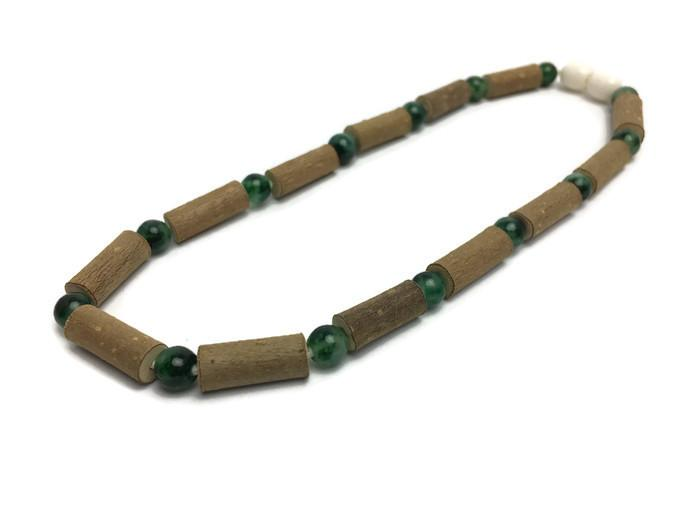 Baby Hazelwood Necklace - Hazelwood Necklace 11 In Eczema Colic Reflux GERD Rose Quartz Green Jasper