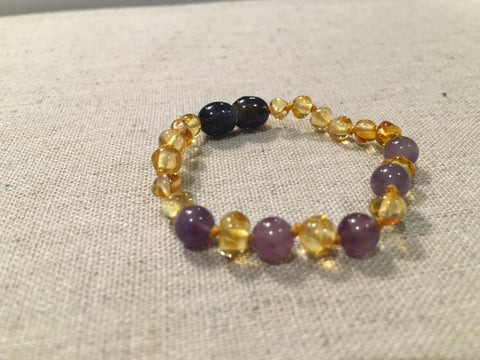 Baltic Amber Bracelet - 5.5 To 6 Inch Baltic Amber Bracelet Polished Lemon Amethyst Newborn Baby, Infant, Toddler