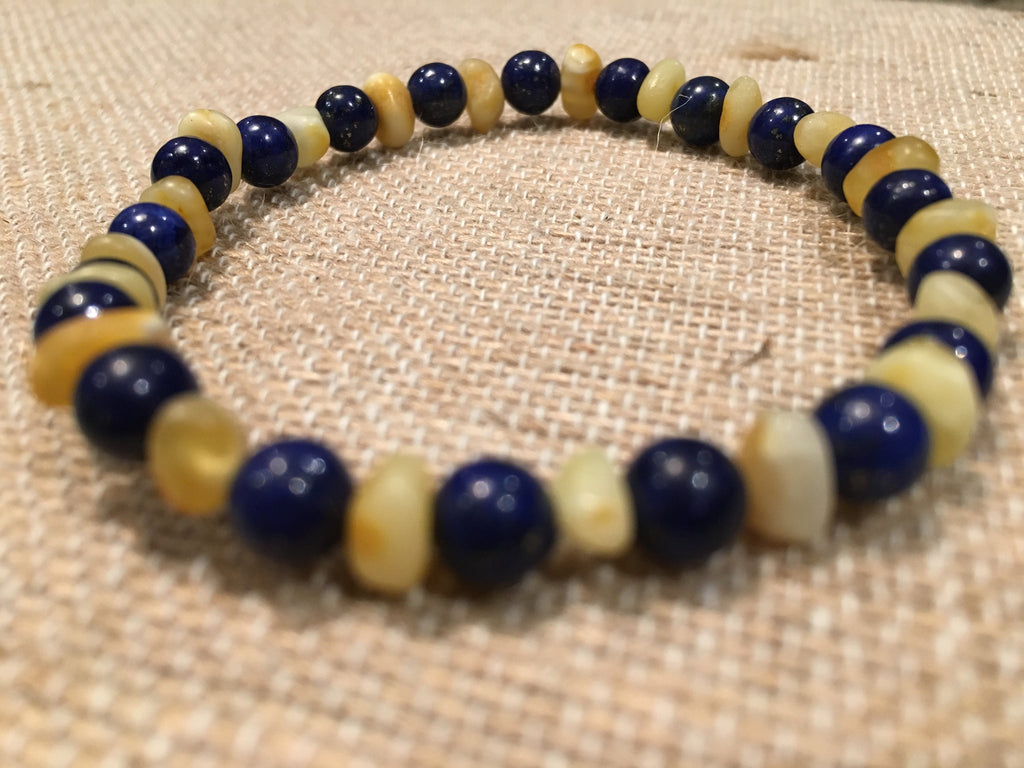 Baltic Amber Bracelet - 7 To 8 Inch Stretchy ADHD Arthritis Carpal Tunnel Raw UnPolished Milk Lapis Lazuli Baltic Amber Bracelet For Big Kid, Teen, Adult.