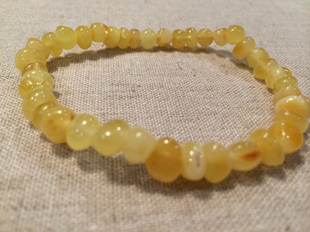 Baltic Amber Bracelet - Adult Bracelet Pain Relief Or Hormonal  7.5 Inch Stretch