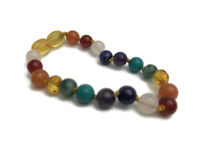 Baltic Amber Bracelet - Baltic Amber Teen Adult 6.5  7.5 Inch Bracelet Rainbow Honey Amber Knotted