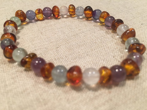 Baltic Amber Bracelet - Baltic Amber Teen Adult 6.5 To 7 Inch Bracelet Rainbow Cognac Amber Pink Rose Quartz Green Flourite Purple Amethyst Stretch