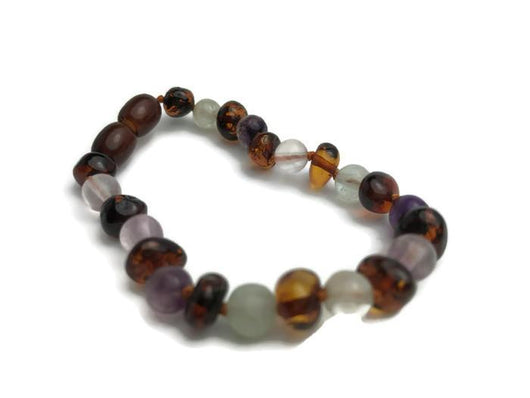 Baltic Amber Bracelet - Baltic Amber Teen Adult 7 To 7.5 Inch Bracelet Rainbow Baltic Amber Cognac