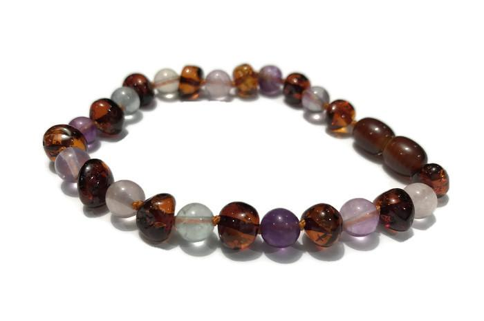 Baltic Amber Bracelet - Baltic Amber Teen Adult 7 To 7.5 Inch Bracelet Rainbow Baltic Amber Cognac Mixed With Pink Rose Quartz Purple Green Fluorite Stretch