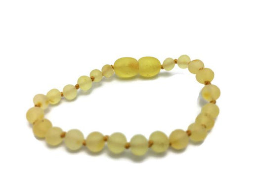 Baltic Amber Bracelet - Raw Unpolished Lemon Baltic Amber Bracelet For Baby, Infant, Toddler, Big Kid