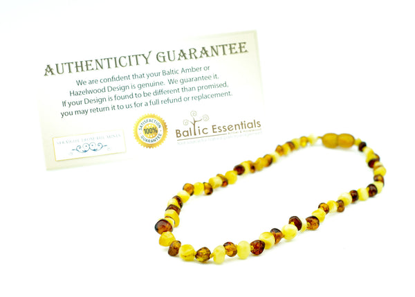 Baltic Amber Necklace - 11 Inch Baltic Amber Necklace Polished Milk Cognac Amber Newborn Baby, Infant, Toddler