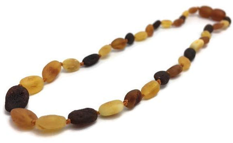 Baltic Amber Necklace - 11 Inch Baltic Amber Necklace Raw Multi Bean Amber Newborn Baby, Infant, Toddler