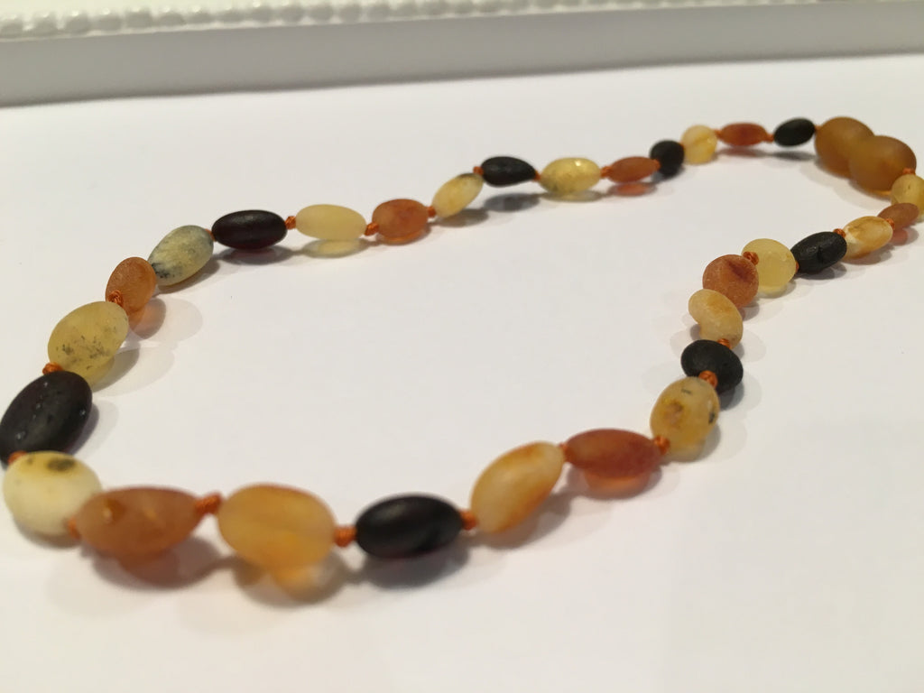 Baltic Amber Necklace - 11 Inch Baltic Amber Necklace Raw Mutli Bean Amber Newborn Baby, Infant, Toddler