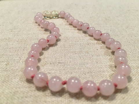 Baltic Amber Necklace - 11 Inch Pink Rose Quartz Baby, Infant, Toddler.