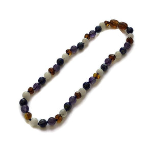 11 or 12.5 inch Baltic Amber Necklace Dark Amber Amethyst Lapis Moonstone