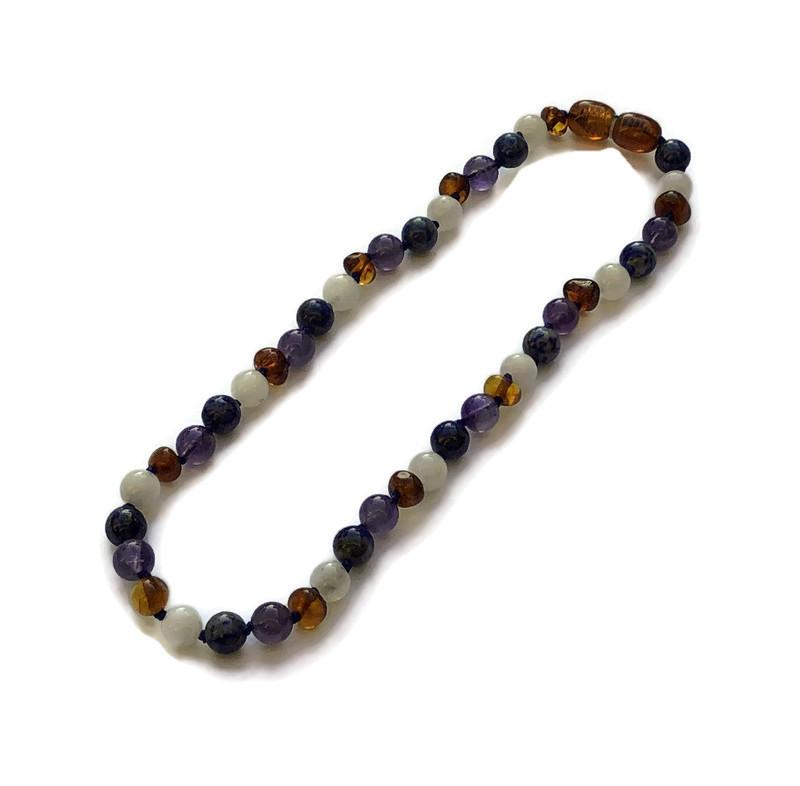 Baltic Amber Necklace - 11 Or 12.5 Inch Baltic Amber Necklace Dark Amber Amethyst Lapis Moonstone