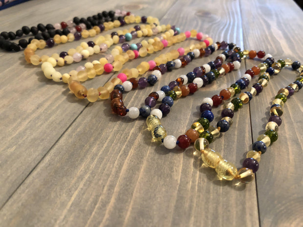 11 or 12.5 inch Baltic Amber Necklace Dark Amber Amethyst Lapis Moonstone 1