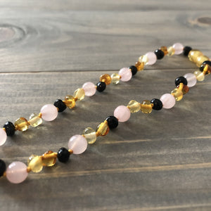 12.5 11 14 in Baltic Amber Teething Necklace Pink Multi