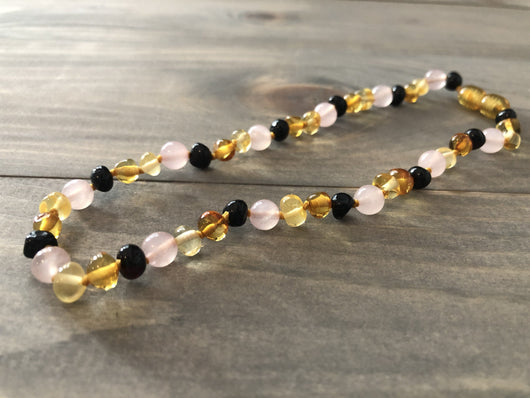 Baltic Amber Necklace - 12.5 11 14 In Baltic Amber Teething Necklace Pink Multi