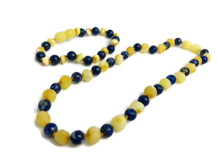 "Baltic Amber Necklace - 12.5"" ADHD Anxiety Teething Raw Milk Lapis Lazuli Baltic Amber Necklace Natural"