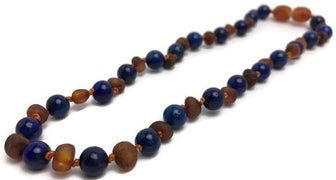 Baltic Amber Necklace - 12.5 ADHD Teething Raw Cognac Lapis Lazuli Baltic Amber Necklace Baby Toddler