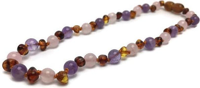 Baltic Amber Necklace - 12.5 Inch Baltic Amber Necklace Rainbow Honey Amber Pink Rose Quartz Amethyst Baby, Infant, Toddler, Big Kid