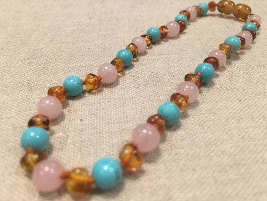 Baltic Amber Necklace - 12.5 Inch Baltic Amber Necklace Rainbow Polished Honey Amber Pink Rose Quartz Turquoise Baby, Infant, Toddler, Big Kid