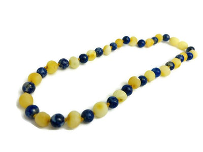 Baltic Amber Necklace - 14 15 Inch ADHD Anxiety Teething Raw Milk Lapis Lazuli Baltic Amber Necklace