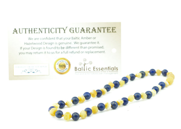 Baltic Amber Necklace - 14 Inch ADHD Anxiety Teething Raw UnPolished Milk Lapis Lazuli Baltic Amber Necklace For Pre Teen