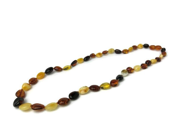 Adult Amber Necklace - Arthritis Carpal Tunnel Sciatica Pain Inflammation Raw 18 20 22 Inch Necklace Unpolished Cognac Baltic Amber Adult