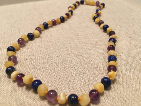 Baltic Amber Necklace - ADHD Anxiety Anger Stress Arthritis Carpal Tunnel Raw UnPolished Raw Milk Baltic Amber And Lapis Lazuli 19 Inch Baltic Amber Necklace Teenager, Or Adult