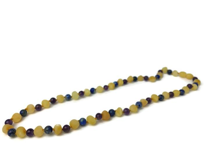 Baltic Amber Necklace - ADHD Anxiety Anger Stress Raw Milk Baltic Amber Lapis Lazuli 17 19 22