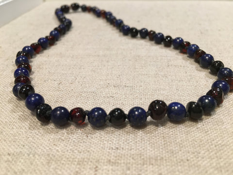 Baltic Amber Necklace - ADHD Anxiety Arthritis Carpal Tunnel Polished Black Cherry Baltic Amber And Lapis Lazuli 18 Inch Baltic Amber Necklace For Big Kid, Teenager, Or Adult