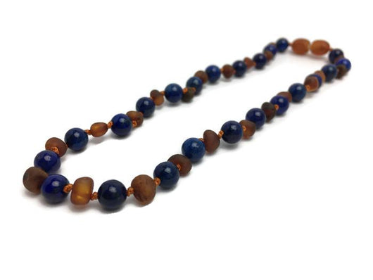Baltic Amber Necklace - ADHD Teething Inflammation 15 Inch Raw Or Polished Cognac Lapis Amber