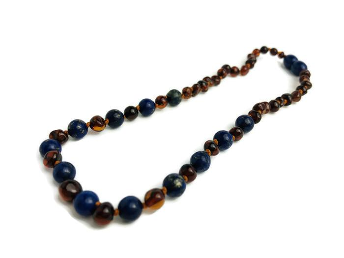 Baltic Amber Necklace - ADHD Teething Inflammation Polished Cognac Lapis Lazuli Baltic Amber Necklace