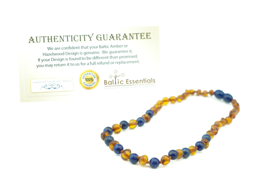 Baltic Amber Necklace - ADHD Teething Inflammation Polished Cognac Lapis Lazuli Baltic Amber Necklace For Baby, Infant, Toddler, Big Kid.