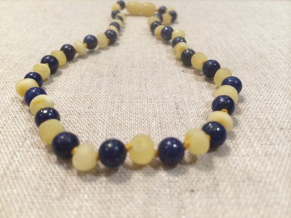 Baltic Amber Necklace - Adult & Child Set Raw Milk Baltic Amber Teething Necklace Baby Infant Toddler With Lapis Lazuli For Stress, Anxiety, ADHD