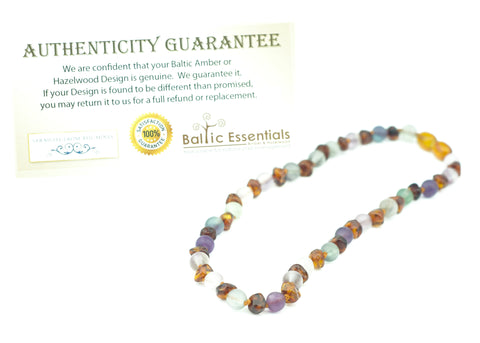 "Baltic Amber Necklace - Baltic Amber Necklace Rainbow Cognac Mixed With Pink Rose Quartz Purple Green Flourite Adult 17"" Or 19"""